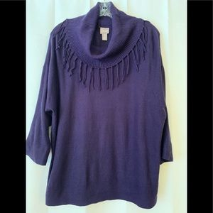 Chico's Purple Cowl Neck Sweater with Fringe - 2